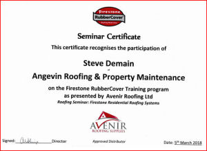 Firestone rubber cover trained certificate angevin roofing